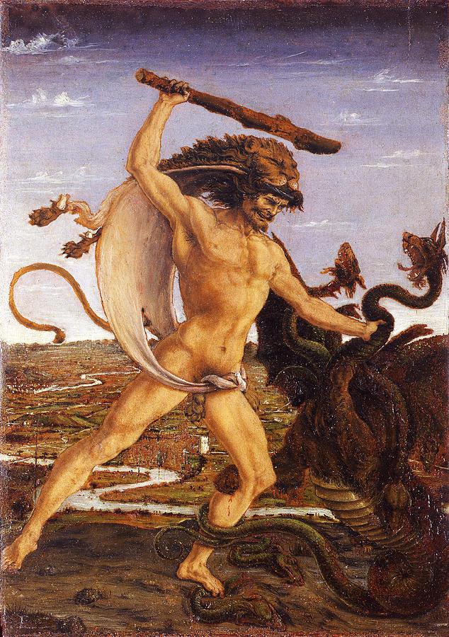 Antonio Del Pollaiuolo Painting - Hercules And The Hydra by Antonio del Pollaiuolo