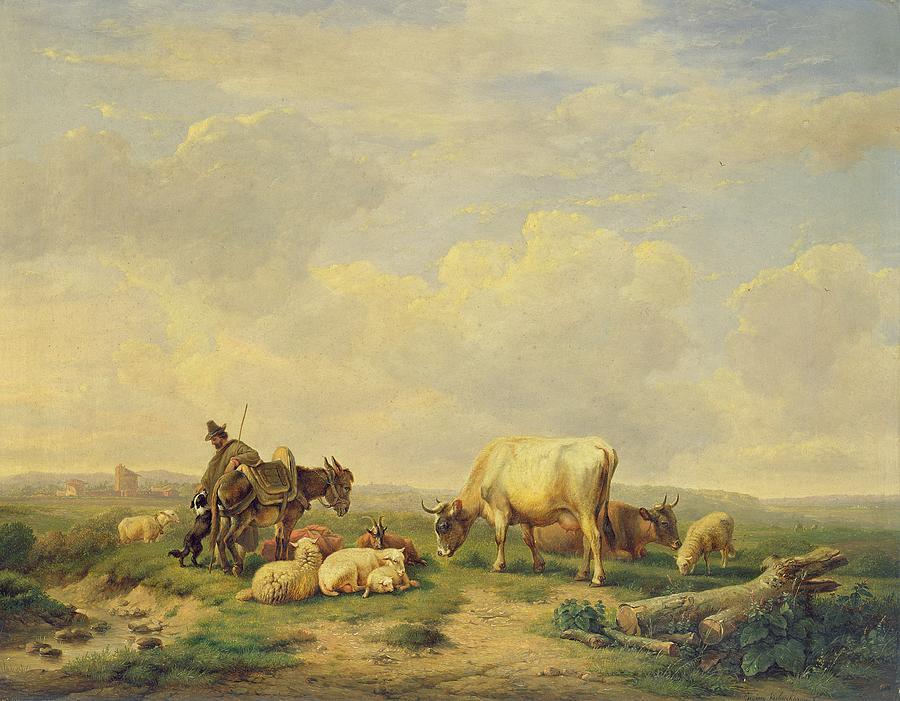 Herdsman And Herd Painting - Herdsman And Herd by Eugene Joseph Verboeckhoven