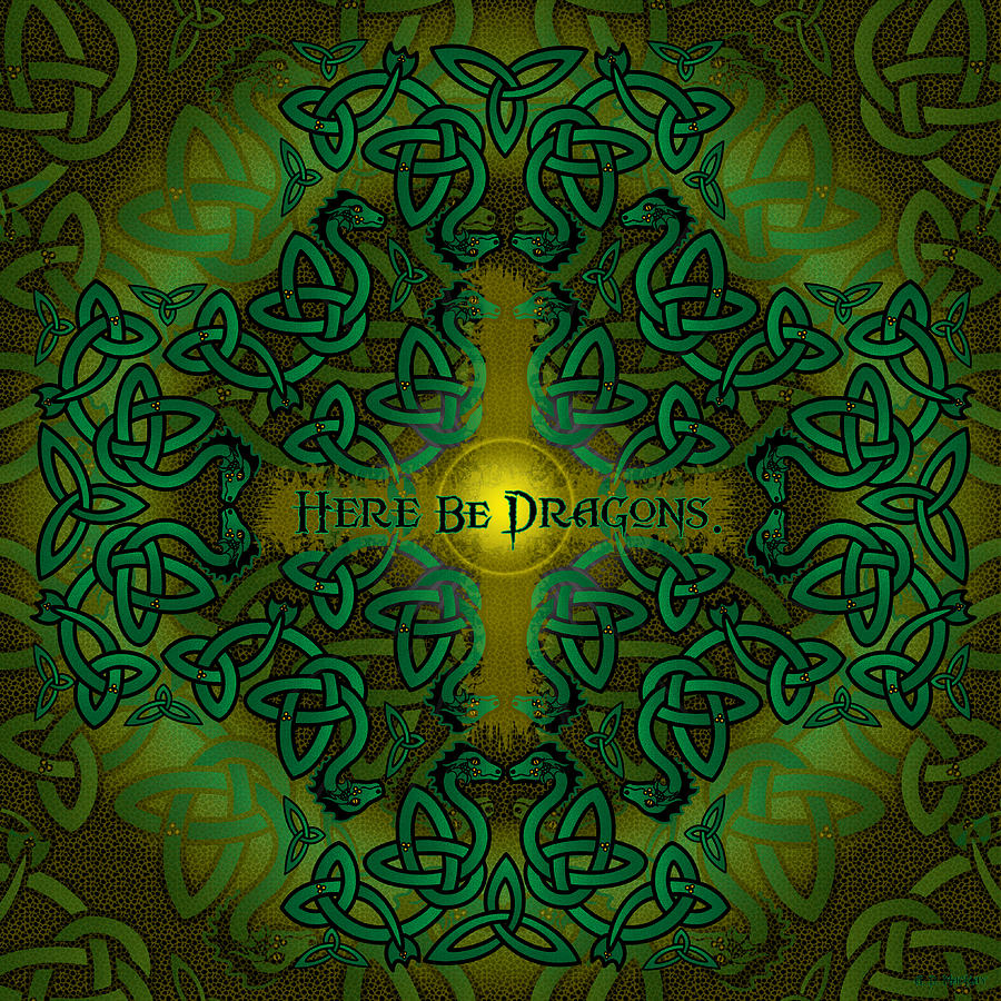 Dragons Digital Art - Here Be Dragons by Celtic Artist Angela Dawn MacKay