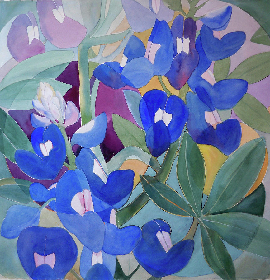 Texas Bluebonnets Painting - Here Comes The Sun by Sue Kemp
