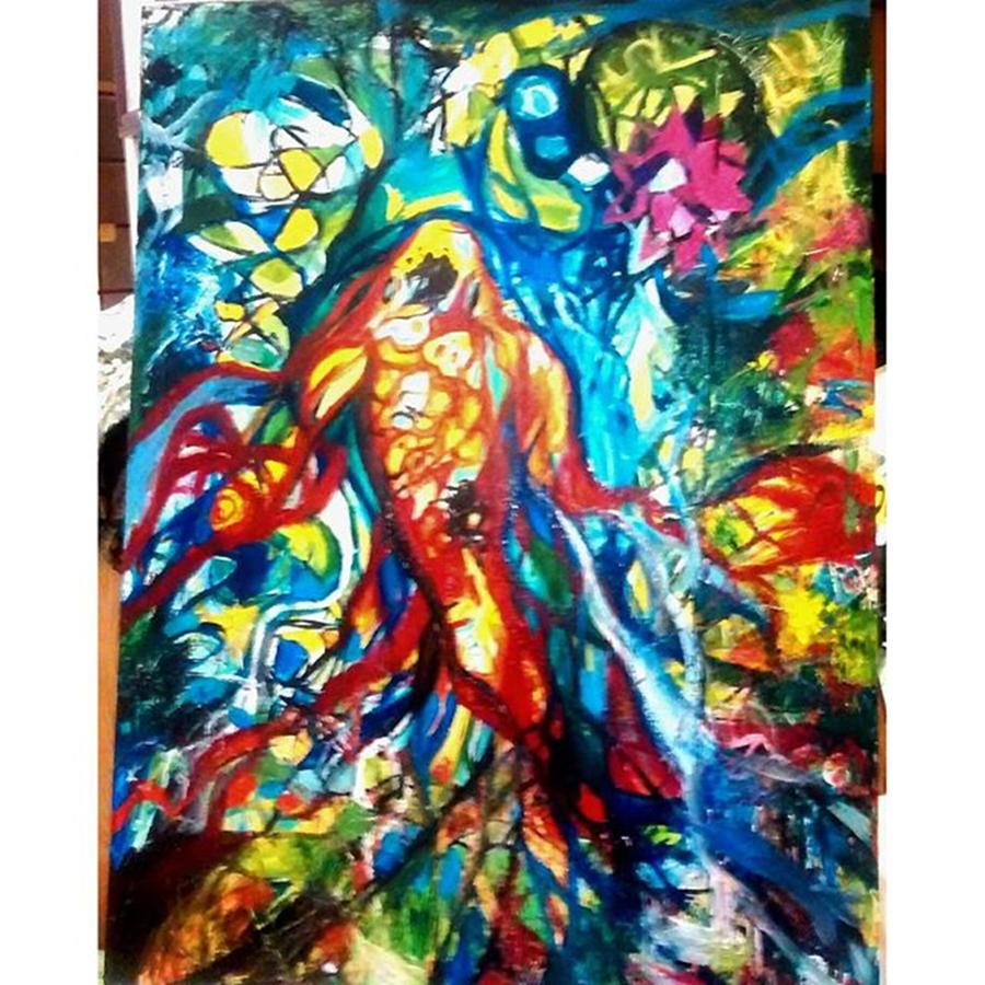 Colorful Photograph - Here Is My Finished Painting Last Night by Genevieve Esson