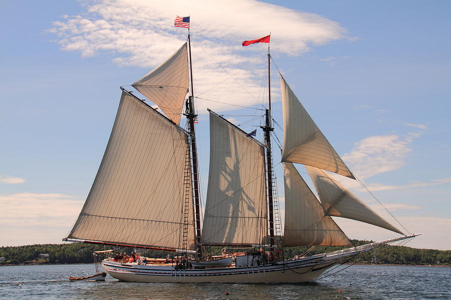 Seascape Photograph - Heritage Full Sail by Doug Mills