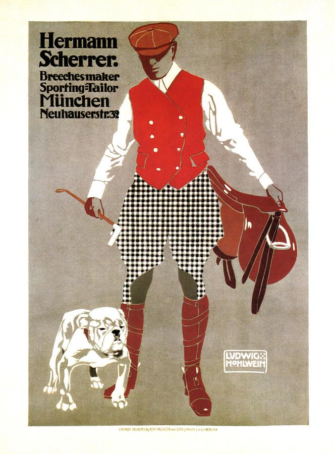 Hermann Scherrer - Sporting Tailor, Breechesmaker - Vintage German Fashion Advertising Poster Mixed Media