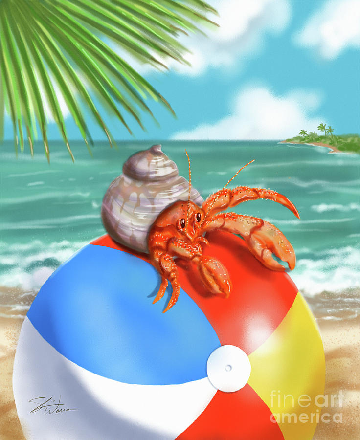 Hermit Crab on a Beachball by Shari Warren