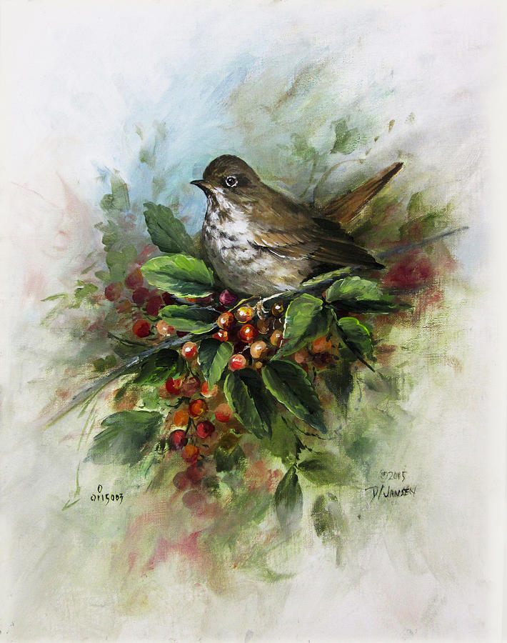 Roses Painting - Hermit Thrush by David Jansen