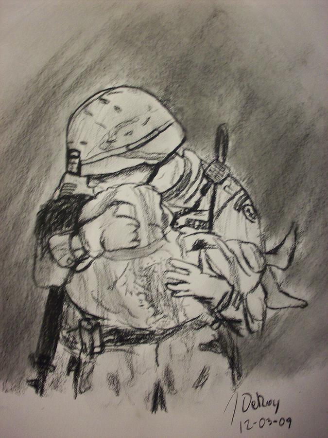 Iraq Drawing - Hero by John DeRoy
