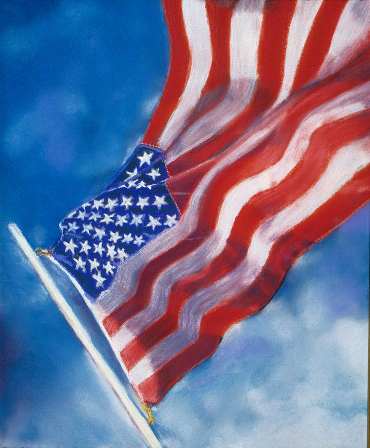 American Flag Pastel - Heroes by Laura Dinoia