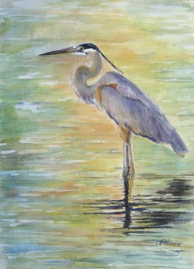 Great Blue Heron Painting - Heron At The Lagoon by Patricia Pushaw