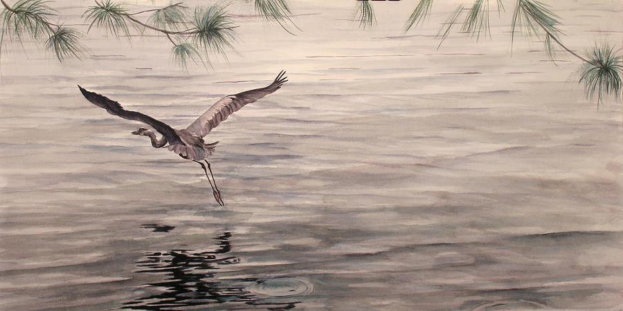 Heron Painting - Heron In Flight by Debbie Homewood