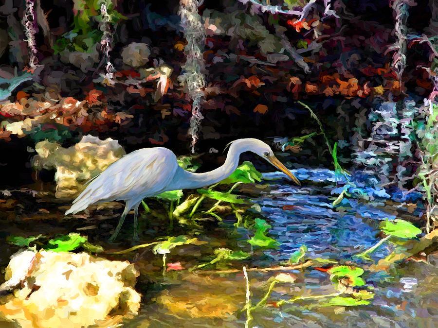 Heron in Quiet Pool by David Van Hulst