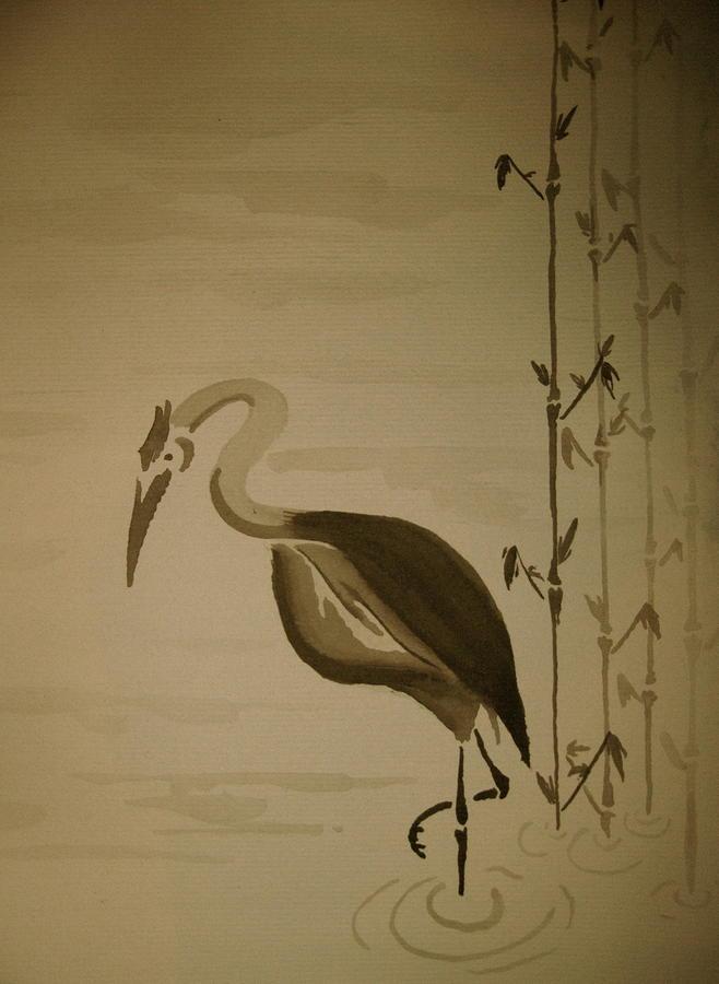 Nature Painting - Heron In Sumi-e by Jeff DOttavio