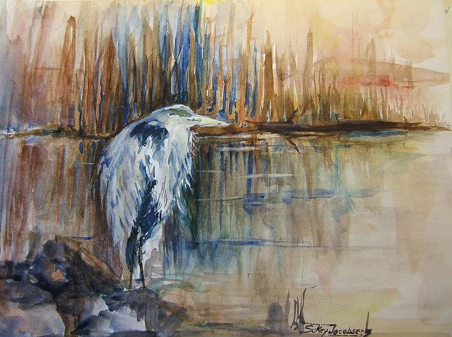 Heron Painting - Heron In The Reeds 1 by Sukey Watson