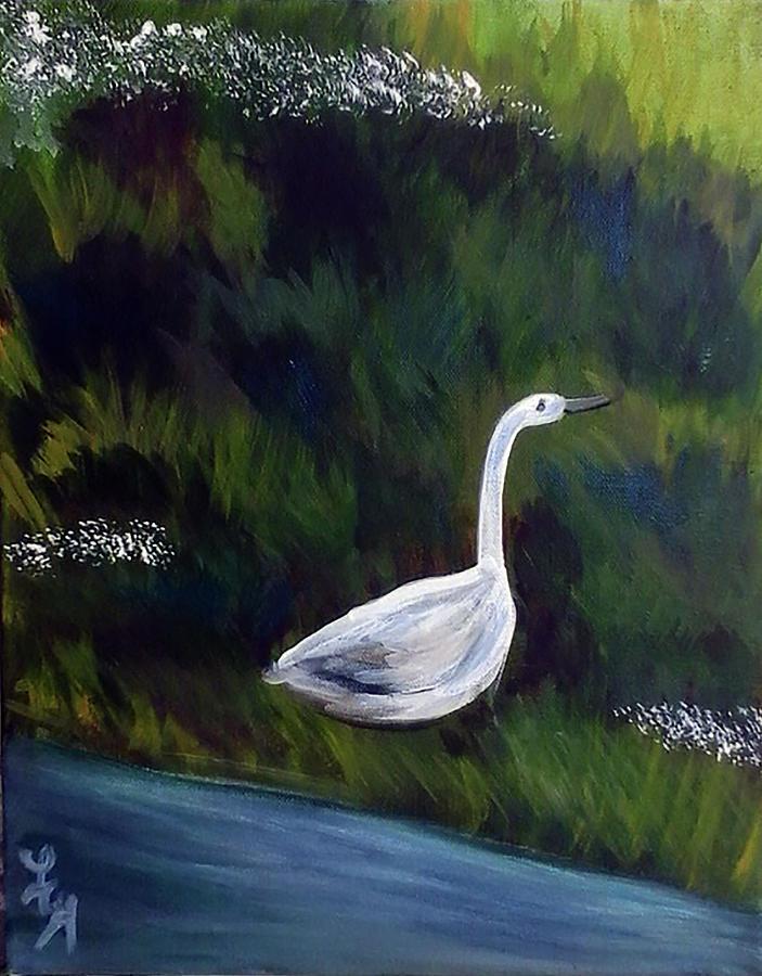 Heron Painting - Heron by Loretta Nash