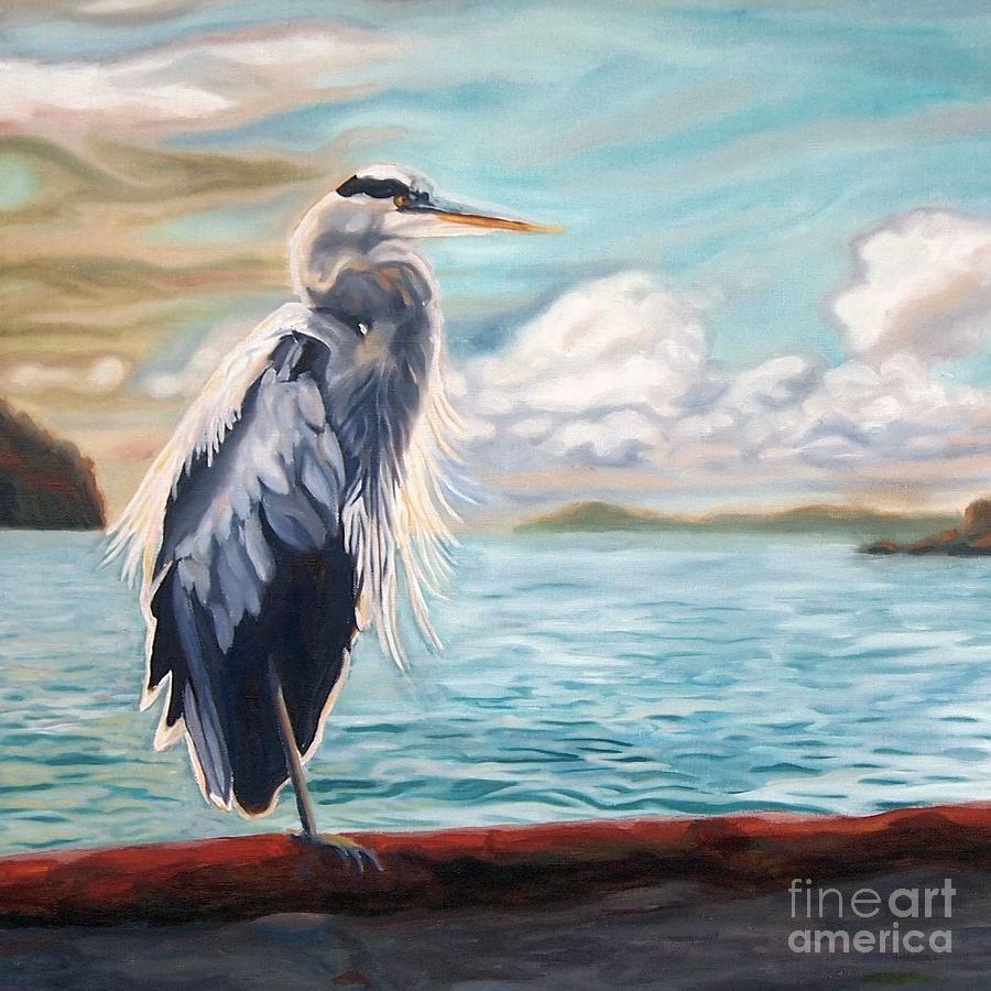 Heron Mystique Square by Janet McDonald
