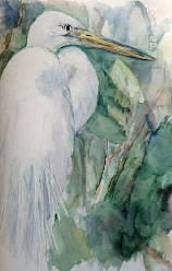 Bird Painting - Heron by Ruth Mabee