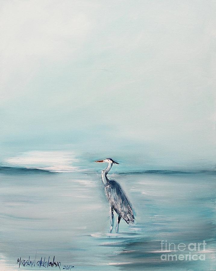 heron silence by Miroslaw  Chelchowski