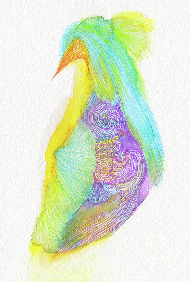 Bird Drawing - Heron - #ss16dw038 by Satomi Sugimoto