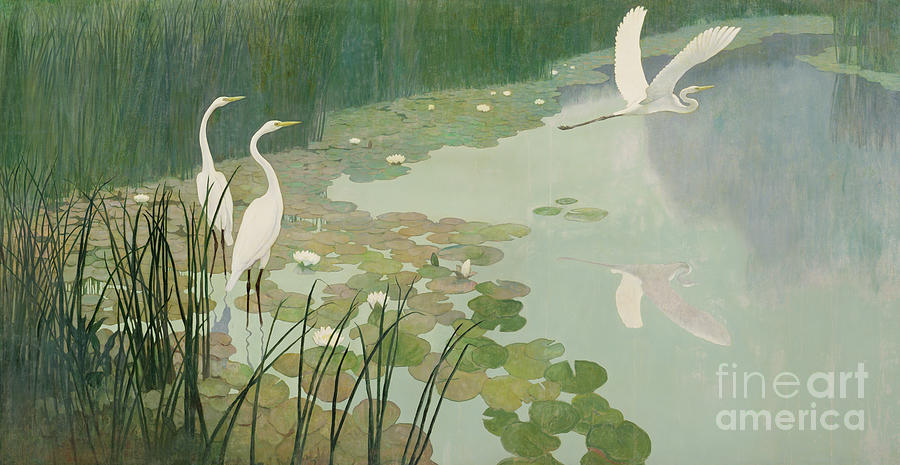 Wyeth Painting - Herons In Summer by Newell Convers Wyeth