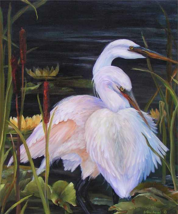 Herons Painting - Herons On Broad Creek by Kathleen Marshall McConnell