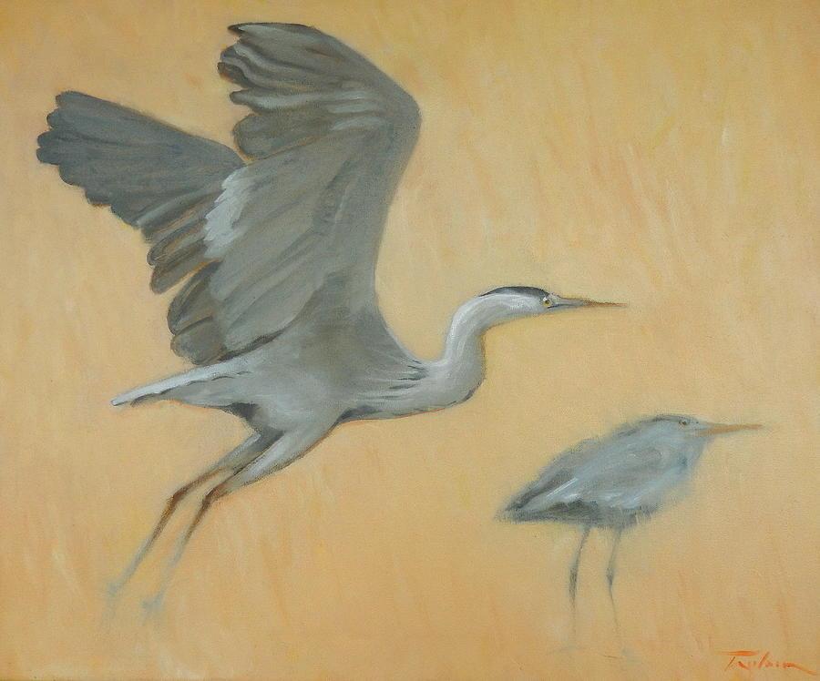 Herons Painting - Herons by Ron Wilson
