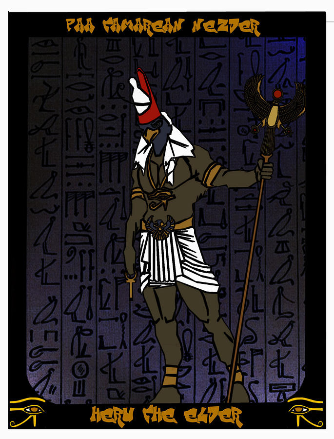 Heru Drawing - Heru The Elder by Derrick Colter