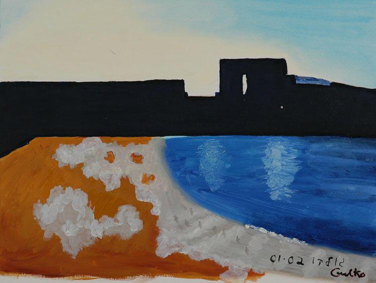 Beach Painting - Herzliya Beach  by Harris Gulko