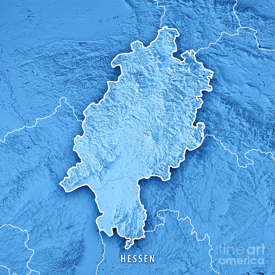 Hessen Federal State Germany 3d Render Topographic Map Blue ...