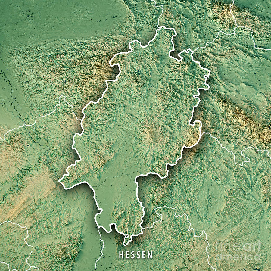 Hessen Federal State Germany 3d Render Topographic Map Border ...