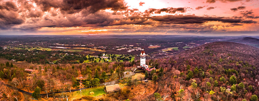 Heublein Photograph - Heublein Tower, Simsbury Connecticut, Cloudy Sunset by Petr Hejl