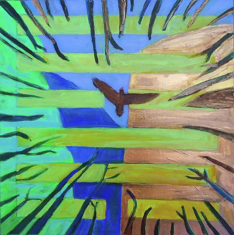 I Ching Painting - Hexagram-57-xun-penetrating-wind- by Denise Weaver Ross