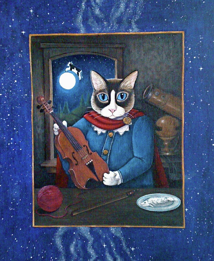 Cat Painting - Hey Diddle Diddle by Fairy Tails Portraits