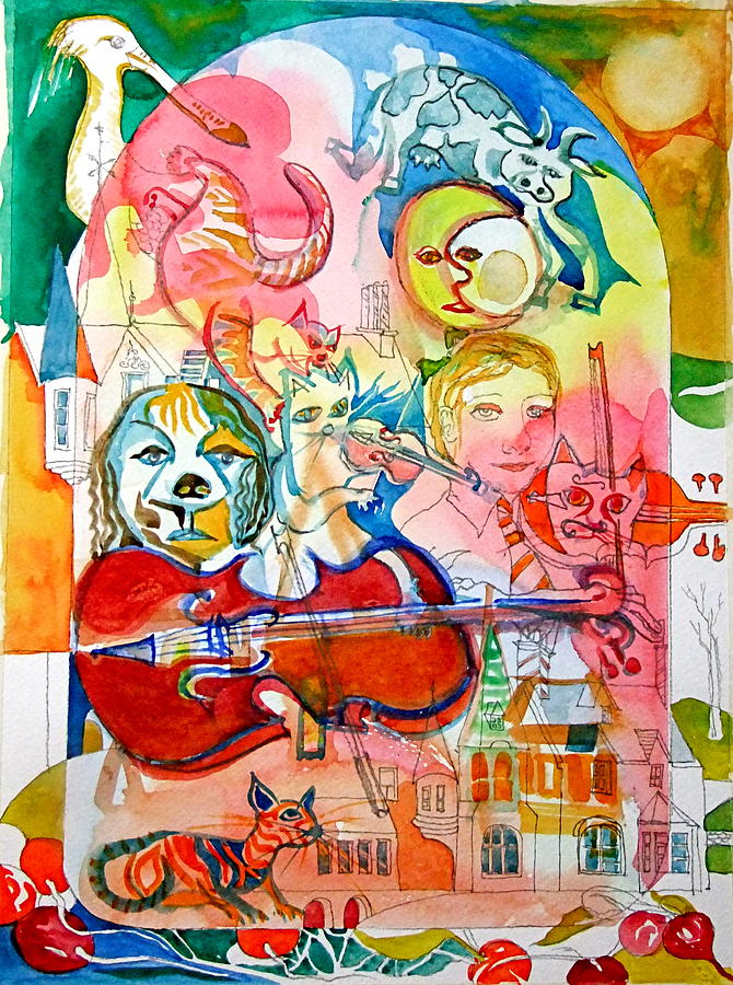 Nursery Rhyme Painting - Hey Diddle Diddle by Mike Shepley DA Edin