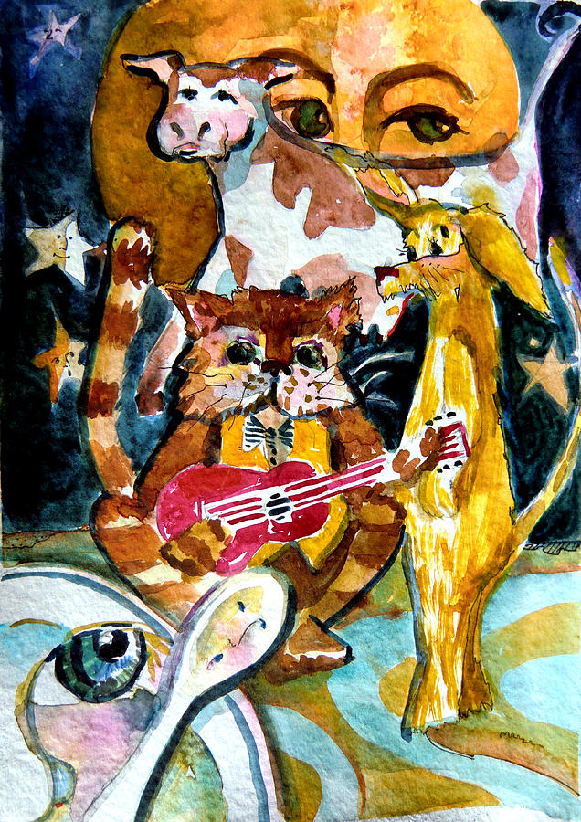 Cat Painting - Hey Diddle Diddle by Mindy Newman
