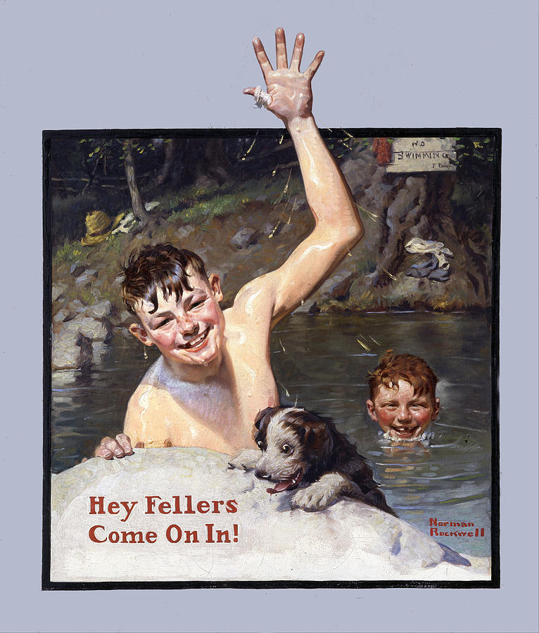 Norman Rockwell Painting - Hey Fellers Come On In by Norman Rockwell