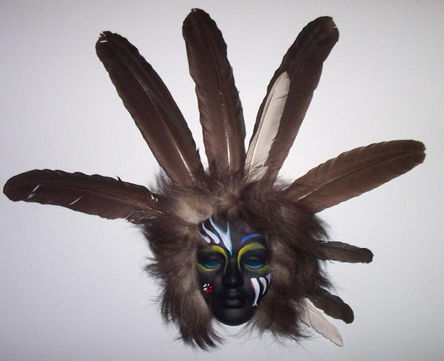 Masks Mixed Media - Heyoka Face by Angelina Benson
