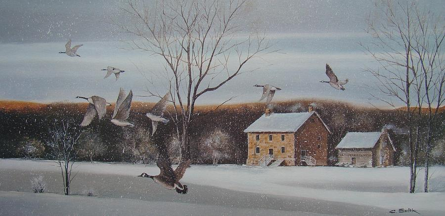 Geese Painting - Hezakiah Alexander House  by Charles Roy Smith