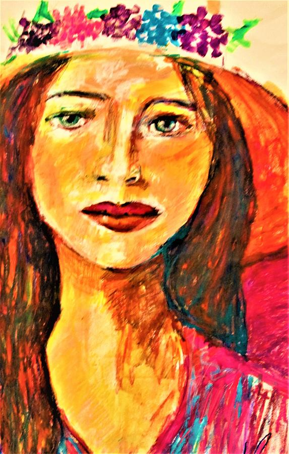 Woman In Hat Painting - Hi by B Janas