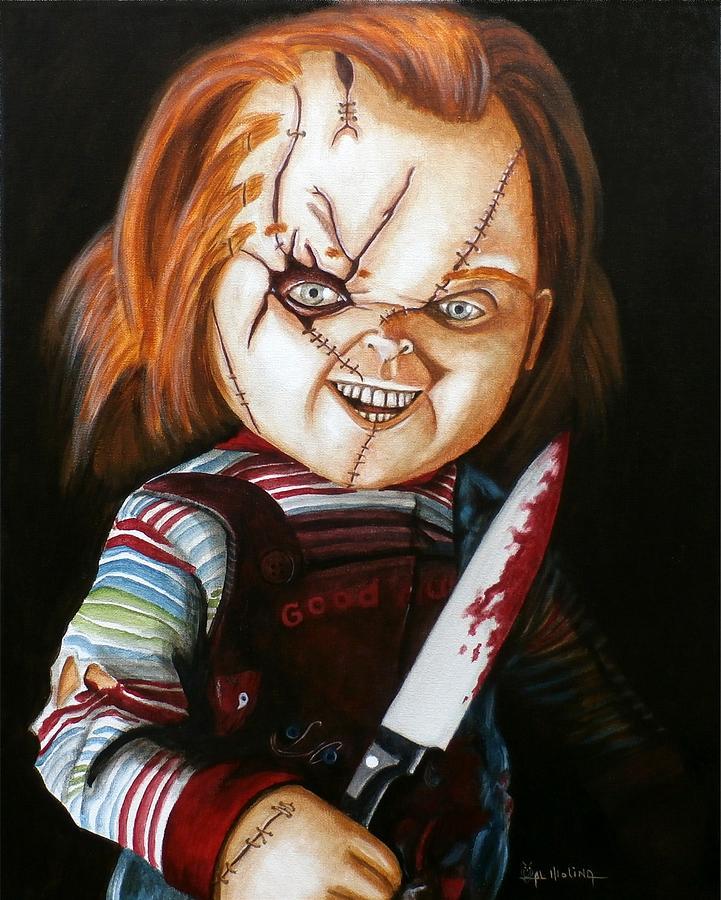 Horror Painting - Hi Im Chucky Wanna Play by Al  Molina