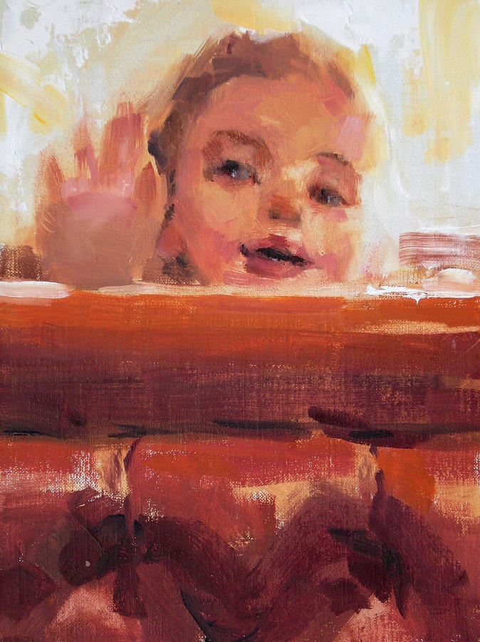 Child Painting - Hi There by Merle Keller
