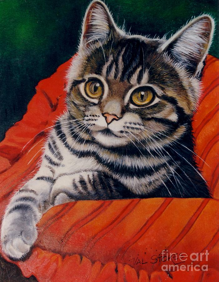 Cat Painting - Hi There by Val Stokes