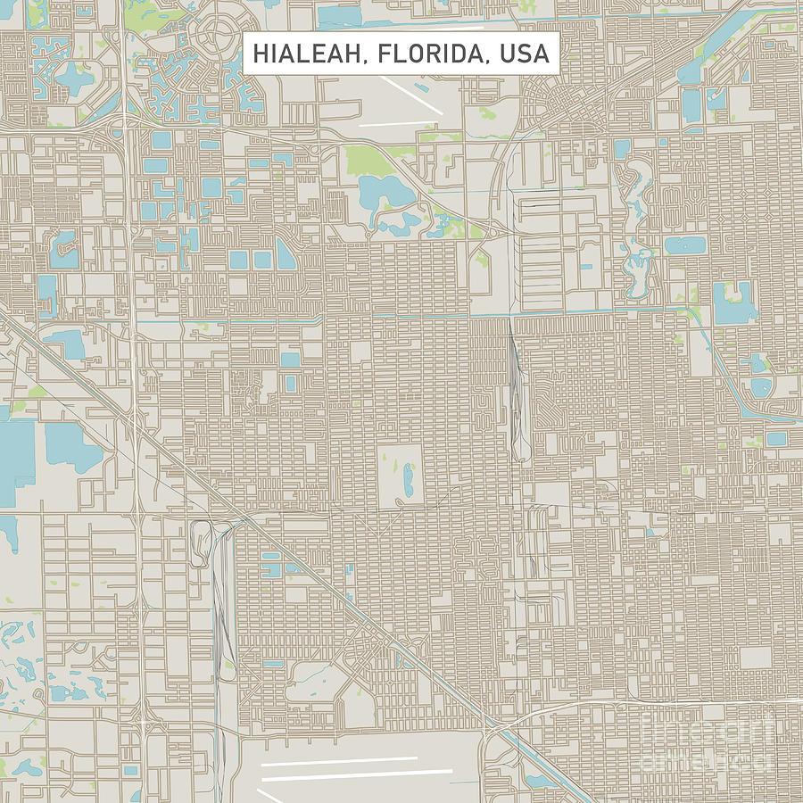 Hialeah Florida Map.Hialeah Florida Us City Street Map Digital Art By Frank Ramspott
