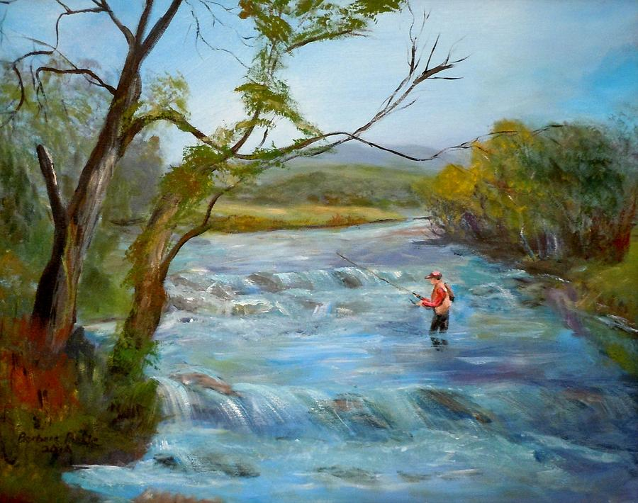 Fly Fishing Painting - Hiawassee River Fly Fishing by Barbara Pirkle