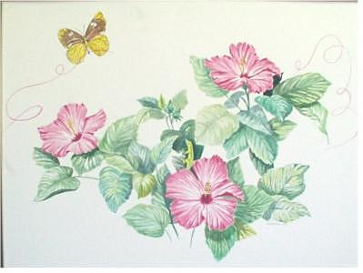 Hibiscus And Butterflies Painting by Wanda Dansereau