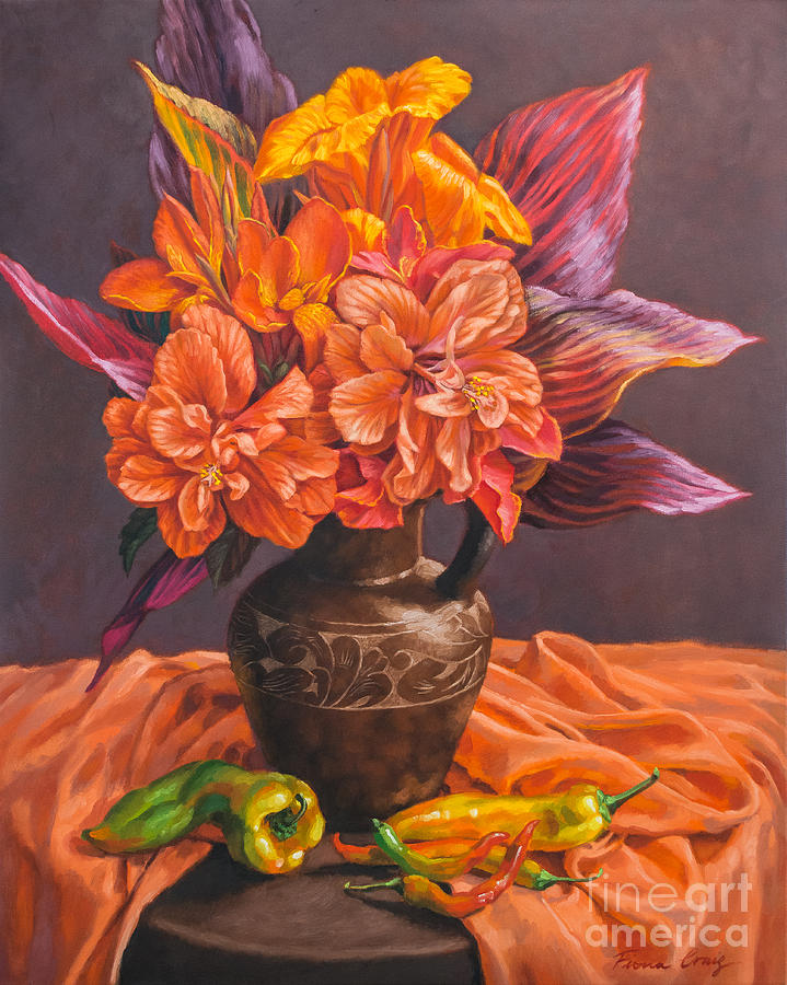 Hibiscus Painting - Hibiscus And Cannas In Balinese Jug by Fiona Craig