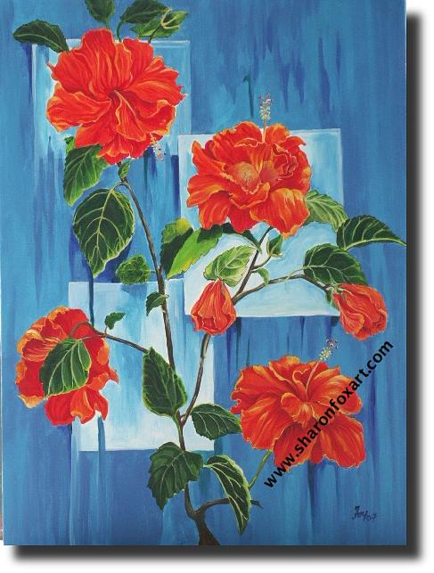 Jamaican Painting - Hibiscus Blue by Sharon Fox-Mould