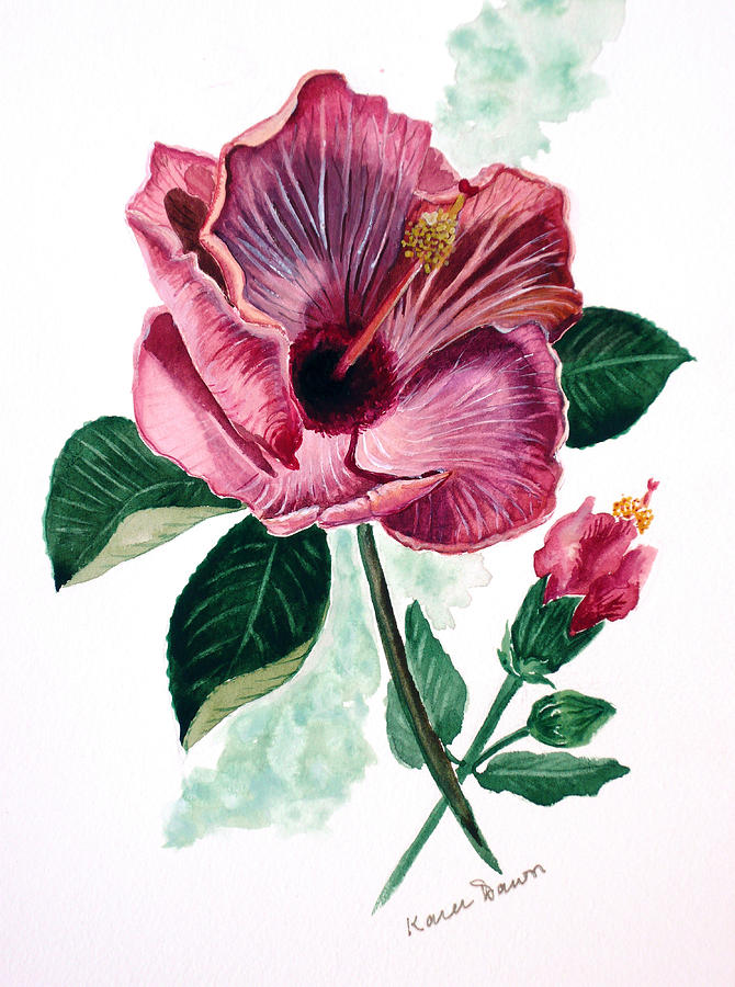 Hibiscus Dusky Rose Painting by Karin  Dawn Kelshall- Best