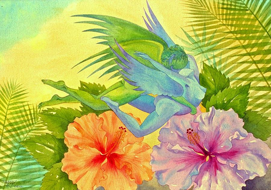 Hibiscus Faeries Painting by Jennifer Baird