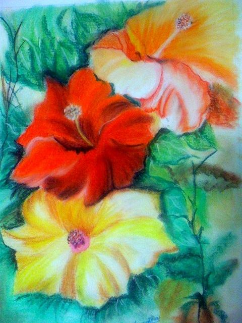 Pastel Colors Painting - Hibiscus Flowers Colored With Pastels by Smitha Kamath