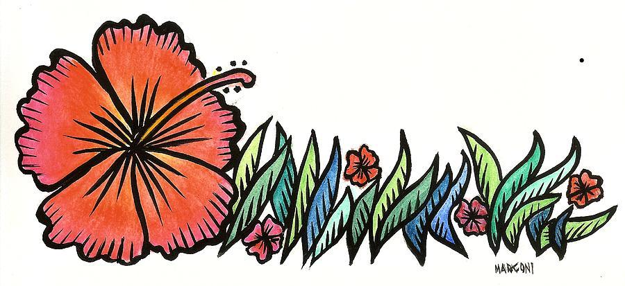 Hibiscus Guam 2009 Painting by Marconi Calindas