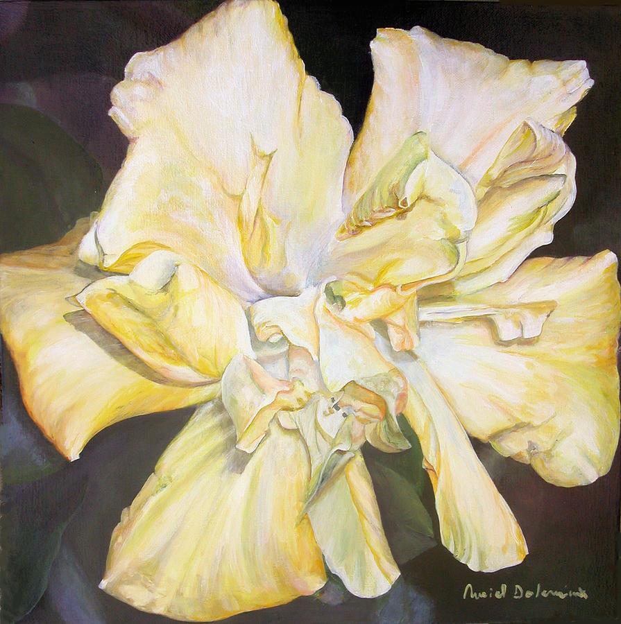 Fleurs Painting - Hibiscus Jaune by Muriel Dolemieux